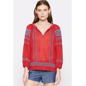 JOIE Gauge Regal Red Embroidered Boho Style Top